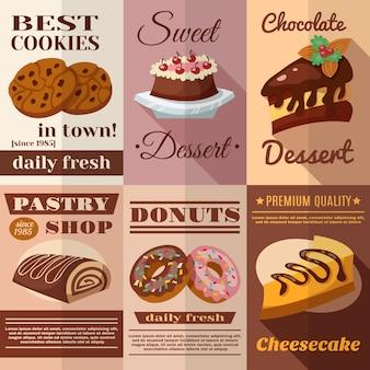 Conjunto de carteles de pastelería