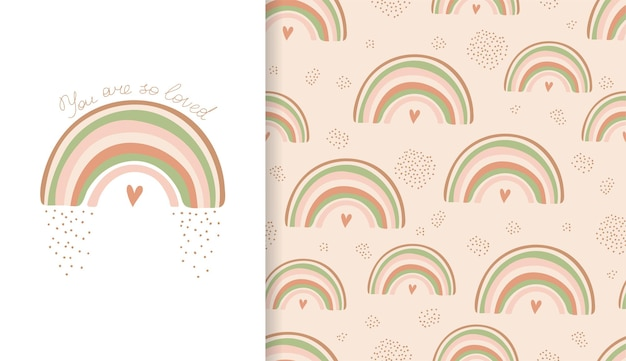 Conjunto de carteles y patrones sin fisuras con arco iris