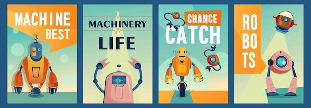 Conjunto de carteles de personajes robóticos.