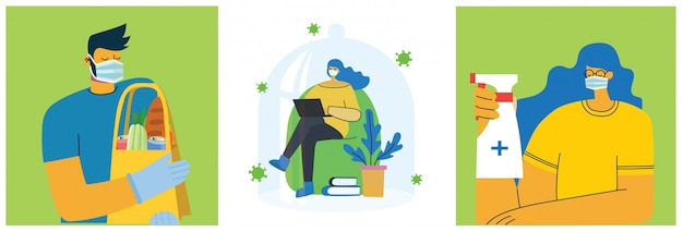 Conjunto de carteles con personas protegidas con escudo, entrega de alimentos, seguro y limpio. propósito sanitario conjunto de ilustración. ilustración de estilo plano. concepto de protección contra virus corona. cuidado de la salud