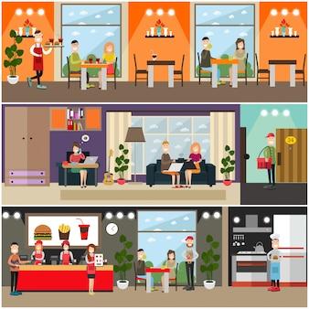Conjunto de carteles planos de comida rápida, pancartas