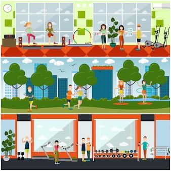 Conjunto de carteles planos de gimnasio, pancartas