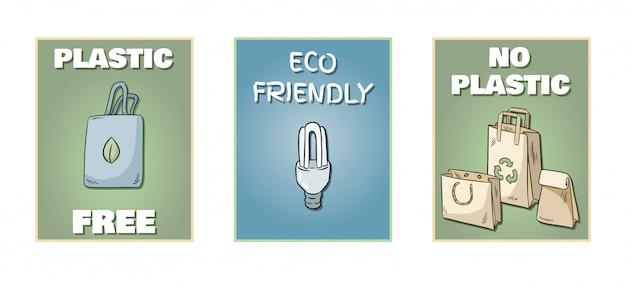Conjunto de carteles sin plástico