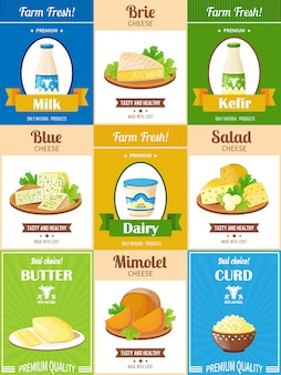 Conjunto de carteles de productos lácteos