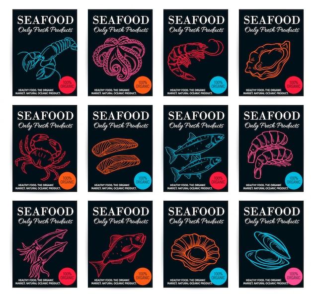 Conjunto de carteles de productos de mariscos