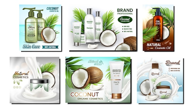 Conjunto de carteles de promoción de cosméticos de coco