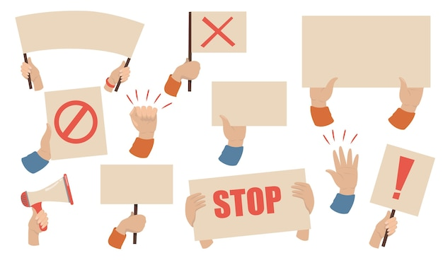 Conjunto de carteles de protesta. manos de activistas con megáfonos, pancartas y carteles con señales de alto. ilustración de vector de huelga de trabajadores, manifestación, concepto de disturbios