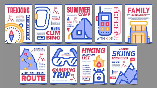 Conjunto de carteles publicitarios creativos de alpinismo