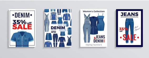 Conjunto de carteles publicitarios y pancartas con ropa de mezclilla sobre fondo blanco ilustración vectorial aislada
