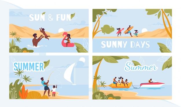 Conjunto de carteles publicitarios summer resort on tropical seacoast