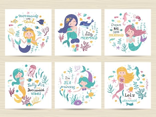 Conjunto de carteles con sirena, animales marinos y letras