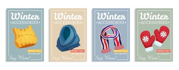 Conjunto de carteles de sombreros de bufanda de invierno estacional de cuatro composiciones verticales con texto adornado e ilustración de imágenes de ropa