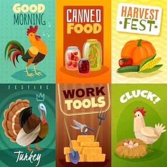 Conjunto de carteles de tarjetas de granja