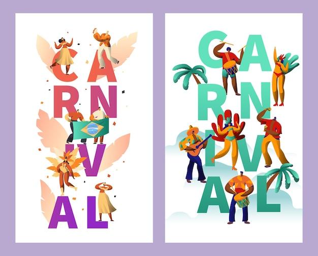 Conjunto de carteles de tipografía de personajes de carnaval brasileño.