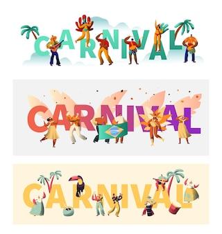 Conjunto de carteles de tipografía de traje exótico de carnaval de brasil.