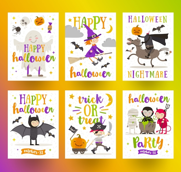 Conjunto de carteles de vacaciones de halloween o tarjetas de felicitación con personajes de dibujos animados y diseño tipográfico. ilustración.