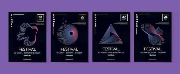 Conjunto de carteles de vector para el festival de música con líneas dinámicas, abstracción.