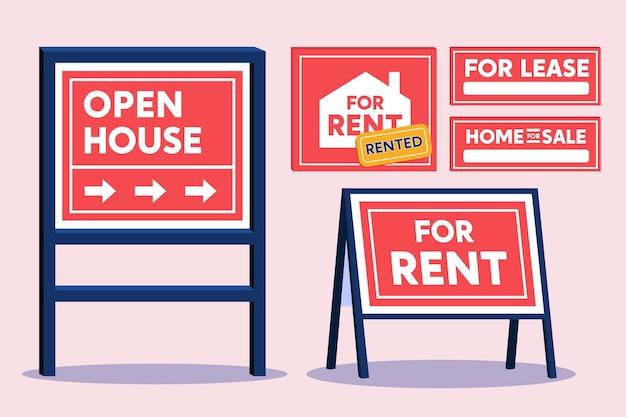 Conjunto de carteles de venta inmobiliaria