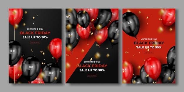 Conjunto de carteles de venta de viernes negro.