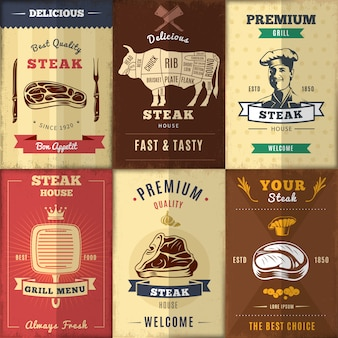 Conjunto de carteles vintage steak house