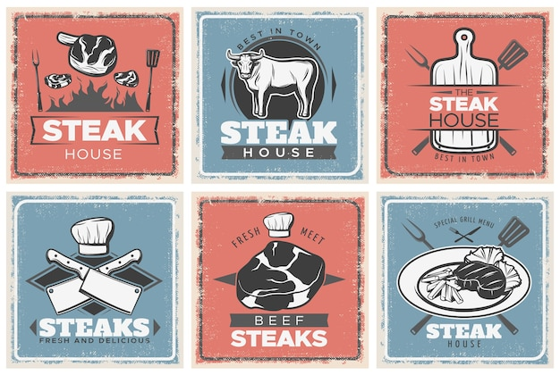 Conjunto de carteles vintage steak house