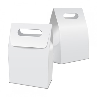Conjunto de cartón modelo blanco en blanco para llevar caja de comida. plantilla de contenedor de producto vacío, ilustración