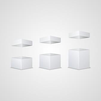 Conjunto de cartones blancos abiertos.