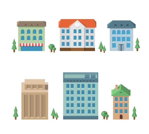 Conjunto de casa. apartamento de arquitectura, edificio residencial, negocio de varios pisos