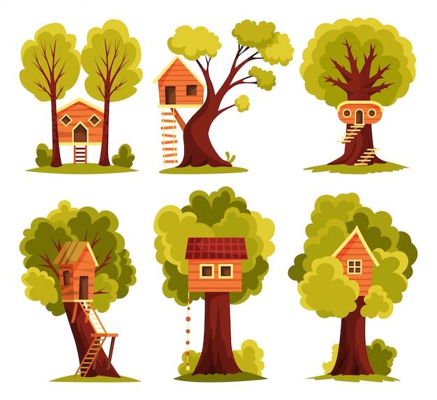 Conjunto de casa del árbol. parque infantil con columpio y escalera.