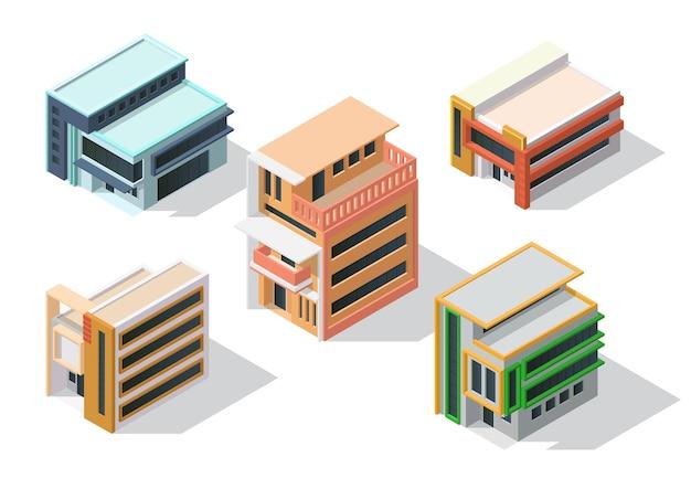 Conjunto de casa de arquitectura minimalista isométrica