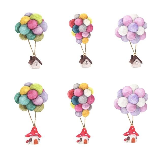 Conjunto de casa colgante con globo de colores. ilustraciones en acuarela. concepto de negocio.
