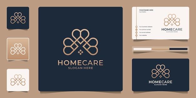 Conjunto de casa creativa con plantilla de logotipo de forma de amor.