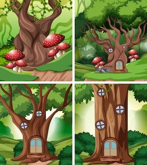Conjunto de casa de cuento de hadas en el bosque