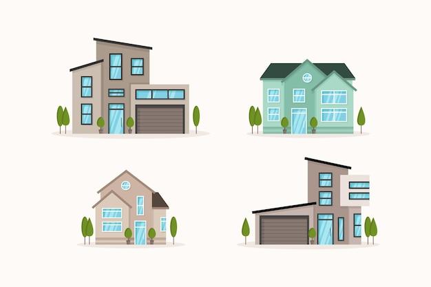Conjunto de casa de diseño plano