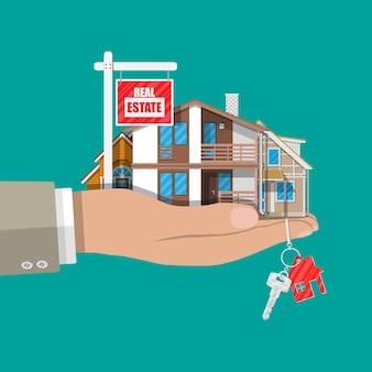 Conjunto de casa familiar suburbana y cartel de venta