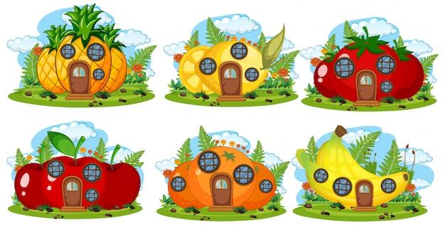 Conjunto de casa de hadas de frutas.