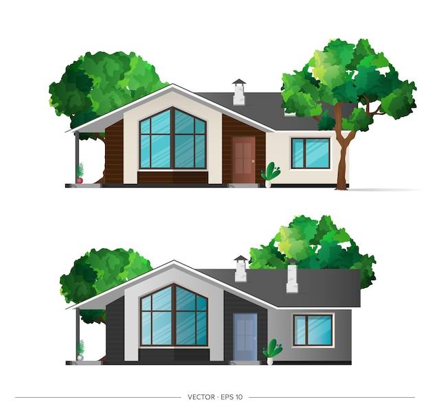 Conjunto de casa moderna con sombras
