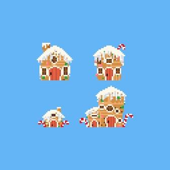 Conjunto de casa de pan de jengibre de pixel