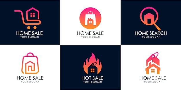 Conjunto de casa de tienda, búsqueda de casa, venta caliente, casa de descuento, venta de casa. plantilla de diseño de logotipo. vector premium parte 1