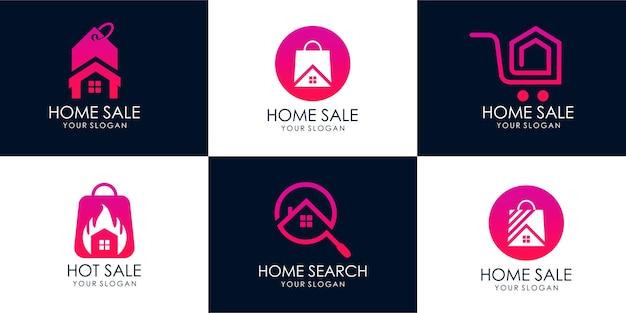 Conjunto de casa de tienda, búsqueda de casa, venta caliente, casa de descuento, venta de casa. plantilla de diseño de logotipo. vector premium parte 2