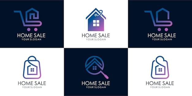Conjunto de casa de tienda, búsqueda de casa, venta caliente, casa de descuento, venta de casa. plantilla de diseño de logotipo. vector premium parte 3