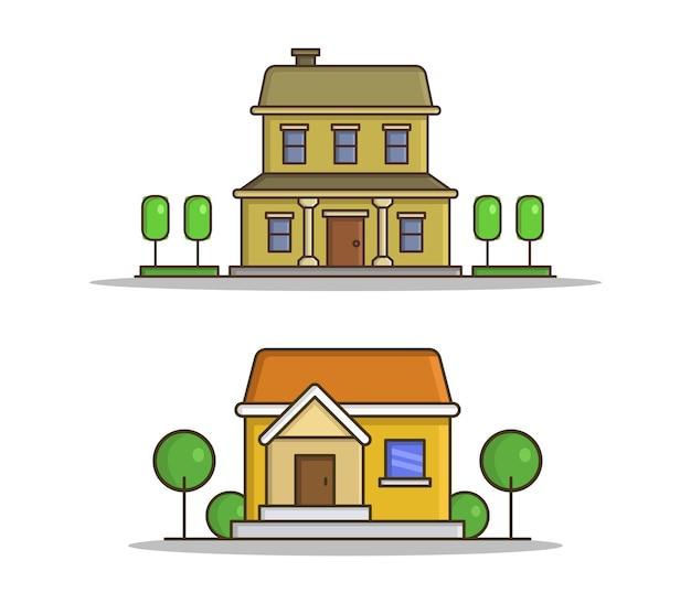 Conjunto de casas con árboles en estilo plano