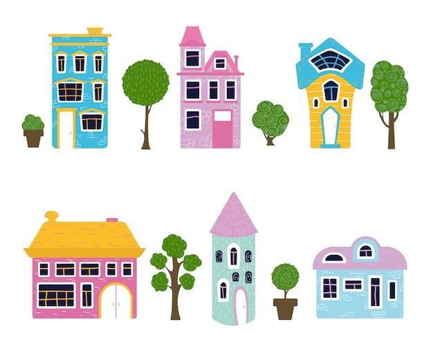 Conjunto de casas de dibujos animados y árboles, hogar dulce