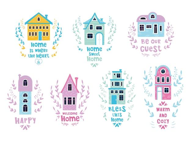 Conjunto de casas de dibujos animados con letras