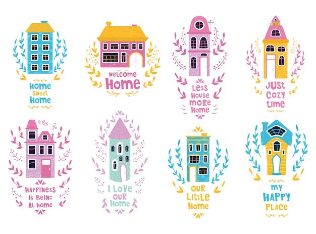 Conjunto de casas de dibujos animados lindo con letras