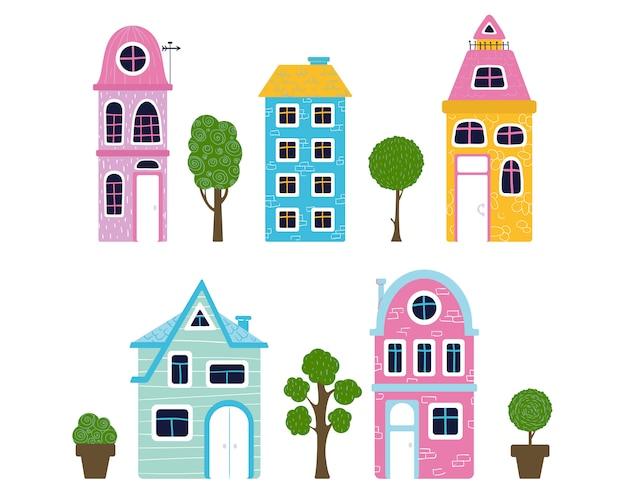 Conjunto de casas de dibujos animados