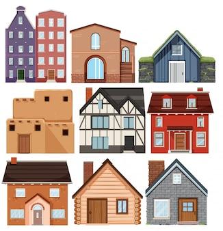 Conjunto de casas de diferentes culturas.
