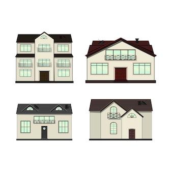 Conjunto de casas en estilo de dibujos animados.