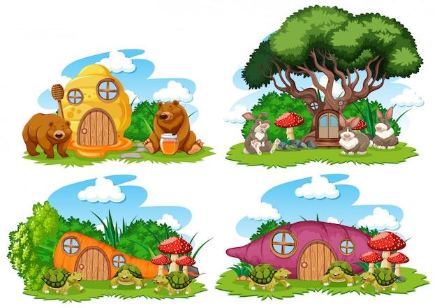 Conjunto de casas de fantasía en el jardín con lindos animales aislados sobre fondo blanco.