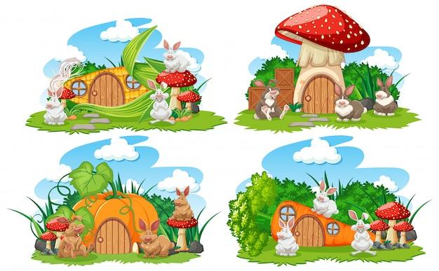 Conjunto de casas de fantasía vegetal en el jardín con lindos animales aislados sobre fondo blanco.